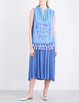 Veronique Branquinho Floral-embroidered tassel-detail crepe midi dress
