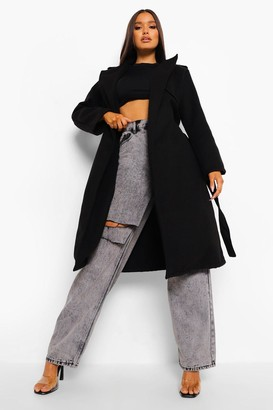 boohoo Belted Wool Look Trench Coat