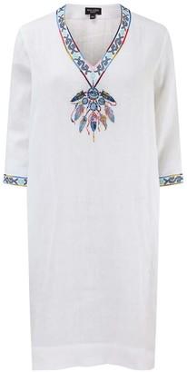 Nologo Chic Dream Catcher Embroidered Line Tunic Dress - White