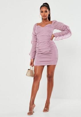 Missguided Mauve Chiffon Bardot Mini Dress