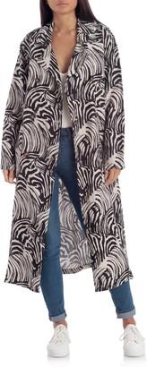 AVEC LES FILLES Zebra Print Oversize Linen Blend Duster Coat