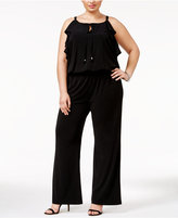 INC International Concepts Plus Size Ruffled Wide-Leg Jumpsuit, Only at Macy's