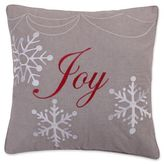 """Levtex Home Snowflake """"Joy"""" Embroidered Throw Pillow in Grey"""