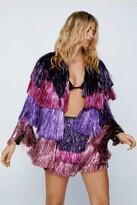 Nasty Gal Womens Party Crasher Multicolored Fringe Jacket - Pink - 6, Pink