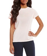 Jones New York Pleated Back Scoop Neck Knit Jersey Tee