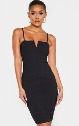 Ooh! La Oohla Black Woven V Detail Strappy Midi Dress