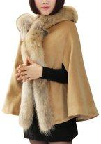 OCHENTA Women's Ladies Girls Faux Fur Knitwear Pounch Cloak Shawl Wrap Cape Coat L - US M