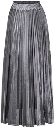 Guocu Summer Women's High Waist Pleated Skirt Casual Elastic Waisted Big Pendulum Shininy Skirts Beach Holiday Large Size Golden Long Dress Silver M