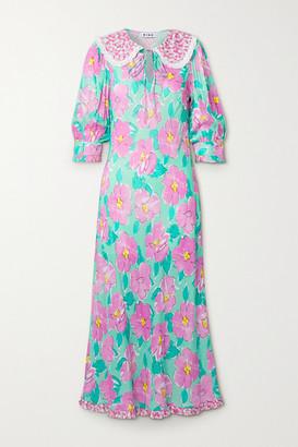 Rixo Lauren Crochet-trimmed Floral-print Crepe Midi Dress - Pink