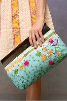 Dip Dye Embroidered Wood Handle Clutch