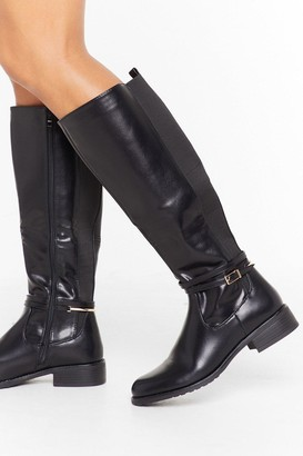 Nasty Gal Womens Just Ride It Out Faux Leather Knee-High Boots - Black