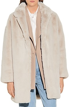 Sandro Fanye Faux Fur Coat