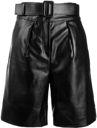 Self-Portrait patent effect bermuda shorts