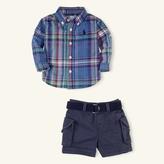 Plaid Oxford & Cargo Short Set