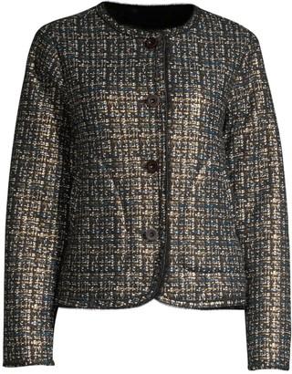 Adrienne Landau Little Shearling Tweed-Print Jacket