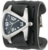Nemesis Men's WXB011K Signature Stainless Steel Teardrop Dial Leather Cuff Watch