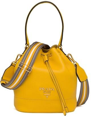 Prada Drawstring-Fastening Logo Bucket Bag