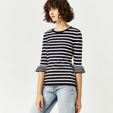 Warehouse Stripe Frill Cuff Jumper