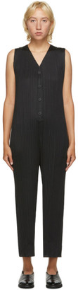 Pleats Please Issey Miyake Black V-Neck Jumpsuit