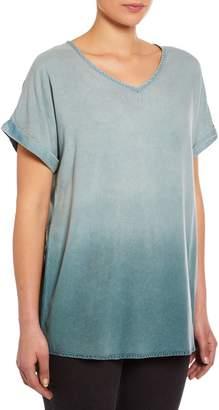 M&Co VIZ-A-VIZ round v-neck dip dye tunic