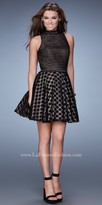 La Femme Mix Print Lace Homecoming Dress