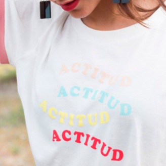 Urban Outfitters Cotton Attitude T Shirt - M/L - White/Blue/Pink
