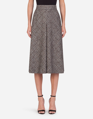 Dolce & Gabbana Longuette Skirt In Glen Plaid With Kick Pleat