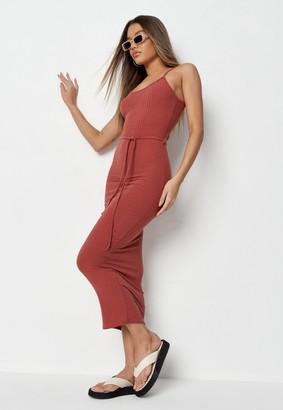 Missguided Tall Terracotta Rib Tie Belt Cami Midaxi Dress