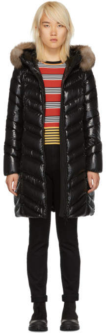 Moncler Black Down and Fur Fulmar Coat