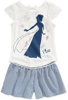 Disney Disney's® Frozen 2-Pc. Elsa Graphic Top & Striped Shorts Set, Toddler & Little Girls (2T-6X)