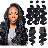ANNELBEL Brazilian Body Wave Hair With Closure 3 Bundles With Lace Closure Remy Human Hair Bundles With Closure Free Part 4x4 Unprocessed Weave Hair Extensions (16 18 20 with 14, Natural Black Color)