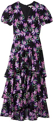 WAYF Leger Tiered Short Sleeve Midi Dress (Black Birds of Paradise) Women's Dress