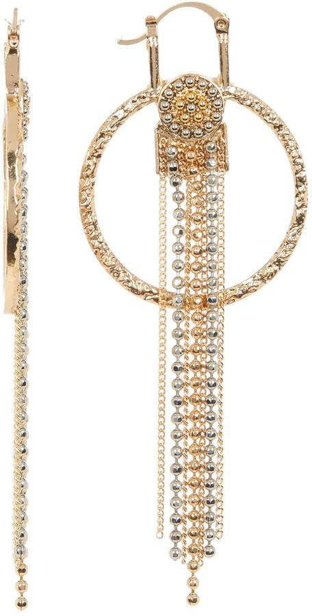 Steve Madden Bead Detail Fringe Drop Textured Circle Earrings