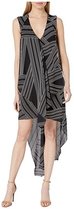 BCBGMAXAZRIA Asymmetrical Hem Dress (Optic White/Crossway Stripe) Women's Dress
