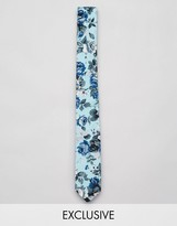 Reclaimed Vintage Inspired Skinny Tie In Floral Print