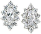 Carolee Silver-Tone Marquise Crystal Halo Stud Earrings