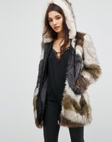 Urban Code Urbancode Faux Fur Hooded Coat In Abstract Fur