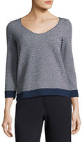 Armani Collezioni Bicolor Chevron Long-Sleeve Knit Top, Black/White