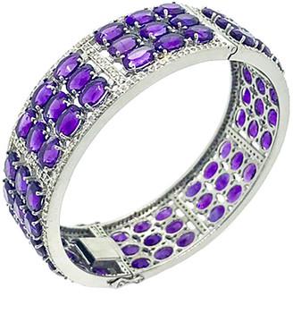 Arthur Marder Fine Jewelry Silver 4.00 Ct. Tw. Diamond & Amethyst Bracelet