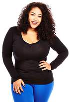 Womens Ladies Plus Size Curvy Cotton Basic V-Neck Long Sleeves Tops