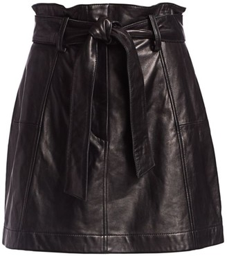 Parker Emmett Leather Paperbag Mini Skirt