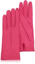 Women's Hot Pink Unlined Italian Leather Gloves