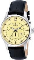Invicta 12237 Men's Vintage Dial Black Leather Strap Chronograph Watch