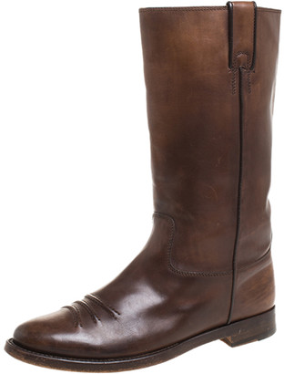 Gucci Brown Leather Mid Calf Round Toe Boots Size 41