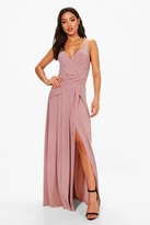 boohoo Slinky Wrap Ruched Strappy Maxi Bridesmaid Dress
