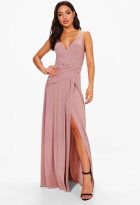 boohoo Wrap Ruched Strappy Maxi Bridesmaid Dress