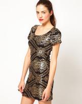 Baroque Sequin Embellished Mini Dress