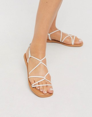 New Look strappy tie up flat sandals in white