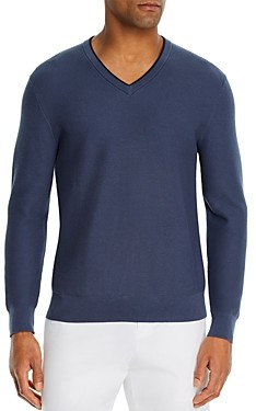 Bloomingdale's The Men's Store At The Men's Store at Cotton Tipped Textured Birdseye Classic Fit V-Neck Sweater - 100% Exclusive
