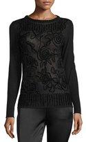 Escada Chenille Crewneck Pullover Sweater, Black